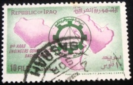Selo postal da Turquia de 1964 Conference Emblem and Map