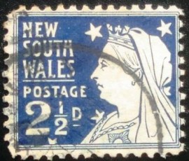 Selo postal de Nova Gales do Sul de 1899 Queen Victoria with Widow's Veil
