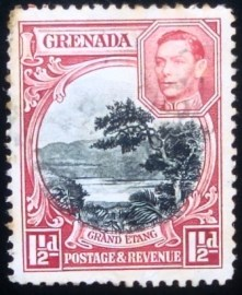 Selo postal de Granadas de 1934 View of Grand Etang