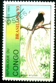 Selo postal do Congo de 1993 Straw-tailed Whydah