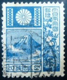 Selo postal Japão 1929 Mt Fuji and Deer Violet