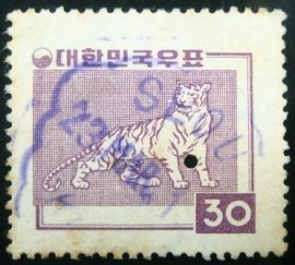 Selo postal Coréia do Sul 1958 Tiger
