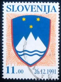 Selo postal da Eslovênia de 1991 National Arms of the Republic of Slovenia 11