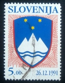 Selo postal da Eslovênia de 1991 National Arms of the Republic of Slovenia