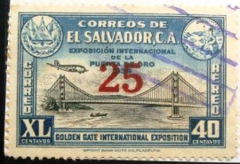 Selo postal de el Salvador de 1943 Golden Gate exhibition 25