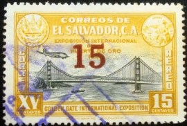 Selo postal de el Salvador de 1943 Golden Gate exhibition