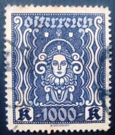 Selo postal Áustria  1922 Woman's head