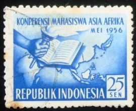 Selo postal da Indonésia de 1956 Asian and African Students' Conference