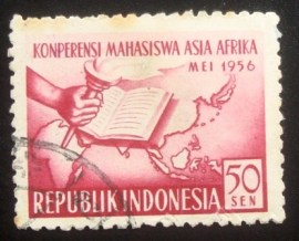 Selo postal da Indonésia de 1956 Asian and African Students' Conference 50