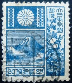 Selo postal Japão 1937 Mt Fuji and Deer Blue