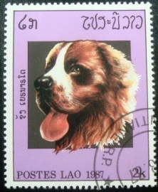 Selo postal do Laos de 1987 Saint Bernard Dog