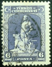 Selo postal da Turquia de 1929 The Legendary Blacksmith and his Gray Wolf