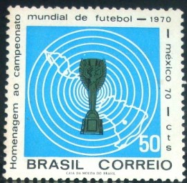 Selo postal do Brasil de 1970 Copa do México