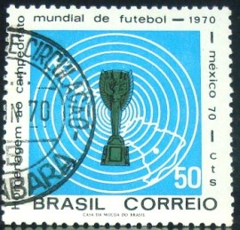Selo postal do Brasil de 1970 Copa do México - C 678 M1D
