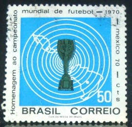 Selo postal do Brasil de 1970 Copa do México - C 678 U