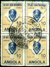Quadra de selos postais da Angola de 1952 Head of Christ