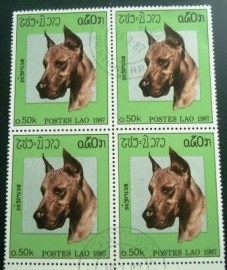 Quadra de selos postais do Laos de 1987 Great Dane