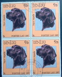 Quadra de selos postais do Laos de 1987 Labrador Retriever