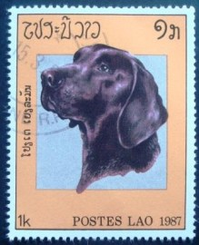 Selo postal do Laos de 1987 Labrador Retriever