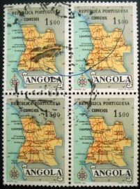 Quadra de selos postais da Angola de 1955 Map of Angola