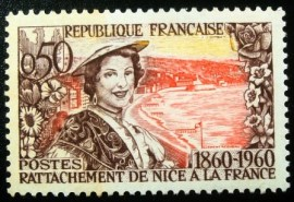 Selo postal da França de 1960 Annexation of Nice to France 1860