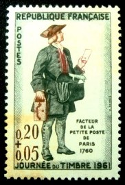 Selo postal da França de 1961 Factor of the small post of Paris 1760