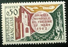 Selo postal da França de 1962 World Theatre Day