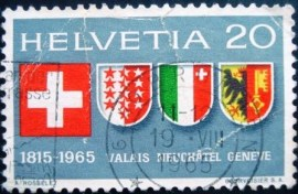 Selo postal da Suiça de 1965 Swiss coat of arms and of Valais