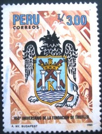 Selo postal do Peru de 1986 Founding of Trujillo