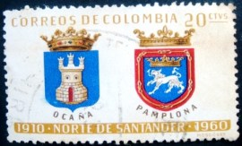 Selo postal da Colômbia de 1961 Arms of Ocaña and Pamplona