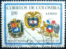 Selo postal da Colômbia de 1966 Arms of Venezuela, Colombia and Chile