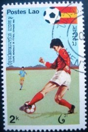 Selo postal do Laos de 1981 Dribble