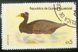 Selo postal da Guiné Equatorial de 1978 Common Scoter