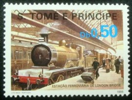 Selo postal de S.Tomé e Príncipe de 1986 London Bridge Station