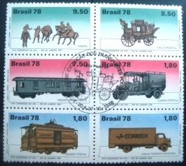 Se-tenant do Brasil de 1978 Transportes Postais