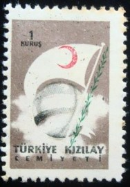 Selo postal de Turquia de 1958 Globe Flag and Branches