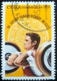Selo postal de Cuba de 1975 Weight lifting