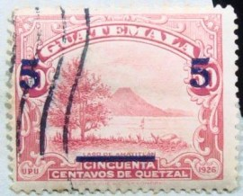 Selo da Guatemala de 1940 Lake Amatitlan 50c issue of 1929 with 5c surcharge