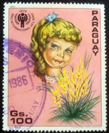 Selo postal do Paraguai de 1981 Head of a child