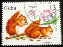 Selo postal de Cuba de 1979 Red Squirrel