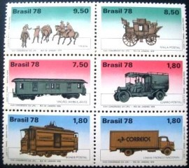 Se-tenant do Brasil de 1978 Transportes Postais N