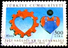 Selo postal da Turquia de 1988 Occupational Safety and Health for Workers