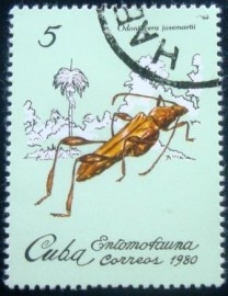 Selo postal do Cuba de 1980 Cricket