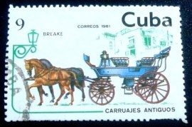 Selo postal de Cuba de 1981 6-seater Open Carriage