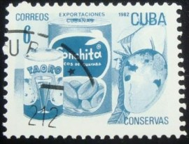 Selo postal de Cuba de 1982 Canned fruits