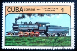 Selo postal de Cuba de 1984 Steam Locomotive 1