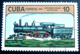 Selo postal de Cuba de 1984 Steam Locomotive 10