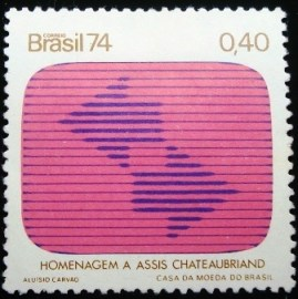 Selo postal do Brasil de 1974 TV - C 837 N
