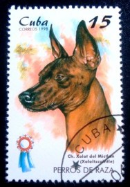 Selo postal de Cuba de 1998 Mexican Hairless Dog