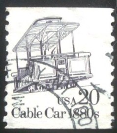 Selo postal dos Estados Unidos de 1988 Cable Car 1880